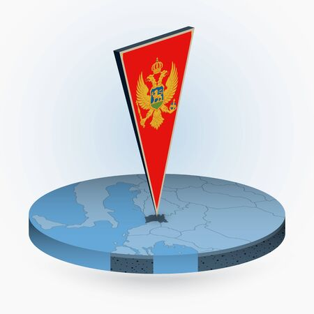 Montenegro map in round isometric style with triangular 3D flag of Montenegro, vector map in blue color.