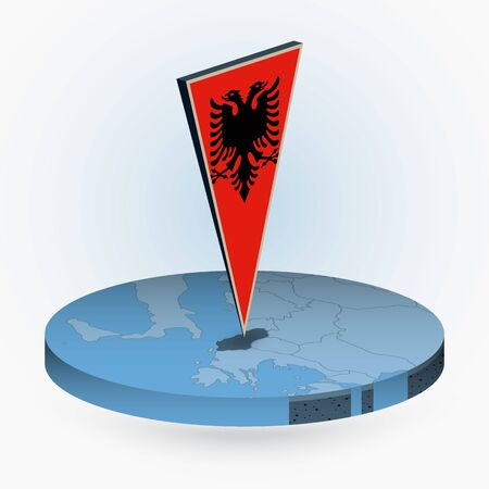Albania map in round isometric style with triangular 3D flag of Albania, vector map in blue color.  Illusztráció