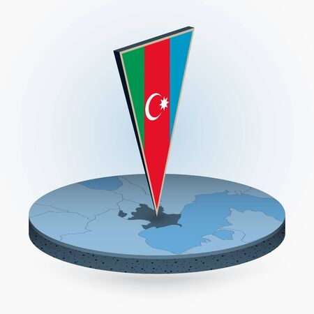 Azerbaijan map in round isometric style with triangular 3D flag of Azerbaijan, vector map in blue color.