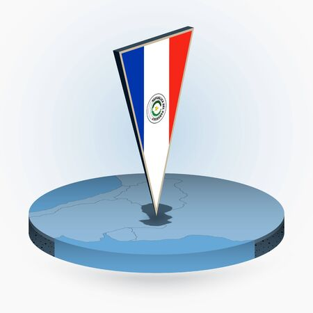 Paraguay map in round isometric style with triangular 3D flag of Paraguay, vector map in blue color.