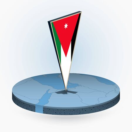 Jordan map in round isometric style with triangular 3D flag of Jordan, vector map in blue color.