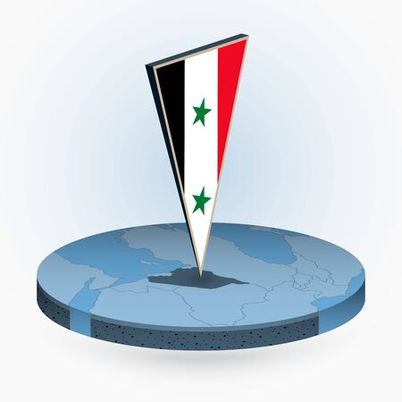 Syria map in round isometric style with triangular 3D flag of Syria, vector map in blue color.
