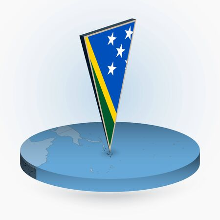Solomon Islands map in round isometric style with triangular 3D flag of Solomon Islands, vector map in blue color.