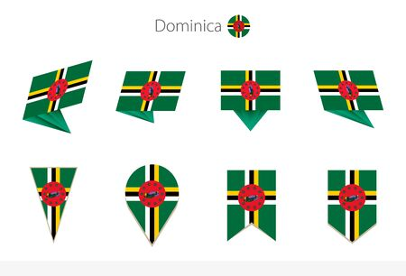 Dominica national flag collection, eight versions of Dominica vector flags. Vector illustration.