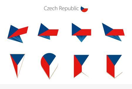 Czech Republic national flag collection, eight versions of Czech Republic vector flags. Vector illustration.