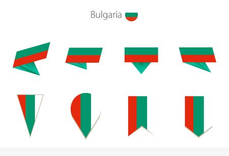 Bulgaria national flag collection, eight versions of Bulgaria vector flags. Vector illustration.