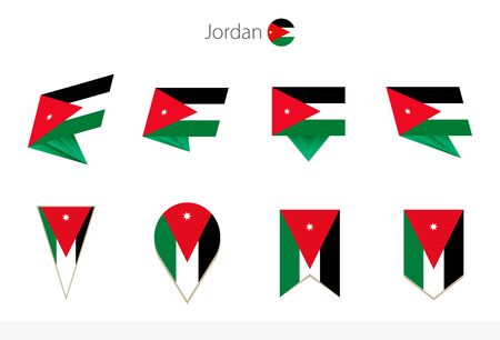 Jordan national flag collection, eight versions of Jordan vector flags. Vector illustration.