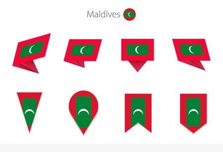 Maldives national flag collection, eight versions of Maldives vector flags. Vector illustration. Stock Illustratie