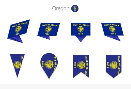 Oregon US State flag collection, eight versions of Oregon vector flags. Vector illustration.