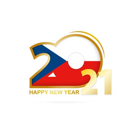 Year 2021 with Czech Republic Flag pattern. Happy New Year Design. Vector Illustration.