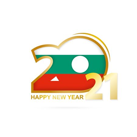 Year 2021 with Bulgaria Flag pattern. Happy New Year Design. Vector Illustration. 向量圖像