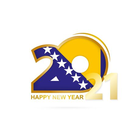 Year 2021 with Bosnia and Herzegovina Flag pattern. Happy New Year Design. Vector Illustration.