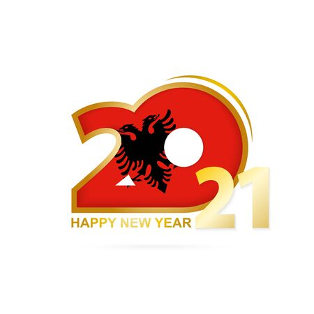 Year 2021 with Albania Flag pattern. Happy New Year Design. Vector Illustration.