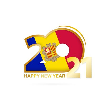 Year 2021 with Andorra Flag pattern. Happy New Year Design. Vector Illustration.