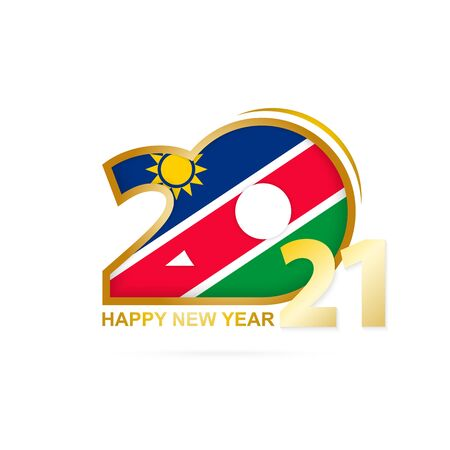 Year 2021 with Namibia Flag pattern. Happy New Year Design. Vector Illustration.