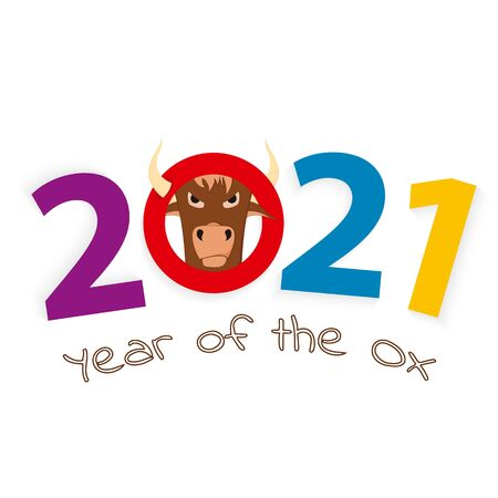 2021 year of the Ox, number 2021 with head of a Ox. Vector illustration. Foto de archivo - 150287843