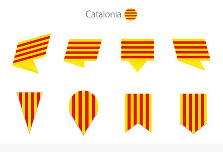 Catalonia national flag collection, eight versions of Catalonia vector flags. Vector illustration. Vettoriali