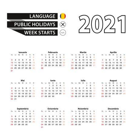 2021 calendar in Romanian language, week starts from Sunday. Vector Illustration. Çizim