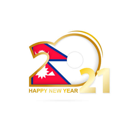 Year 2021 with Nepal Flag pattern. Happy New Year Design. Vector Illustration.