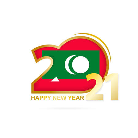 Year 2021 with Maldives Flag pattern. Happy New Year Design. Vector Illustration.