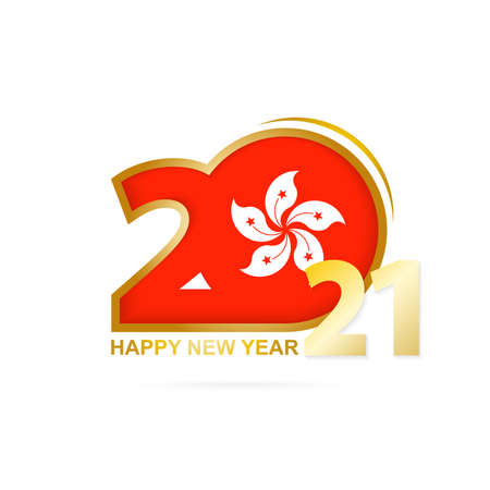 Year 2021 with Hong Kong Flag pattern. Happy New Year Design. Vector Illustration.