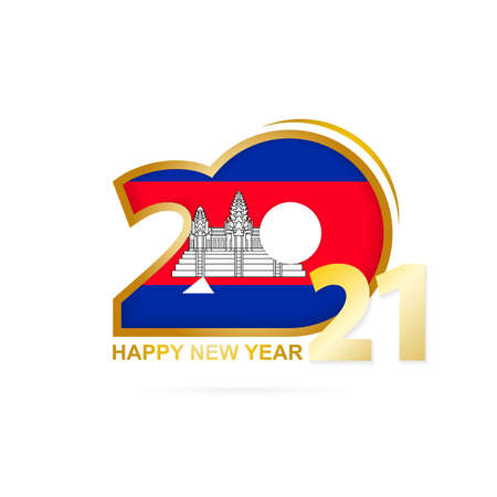 Year 2021 with Cambodia Flag pattern. Happy New Year Design. Vector Illustration.