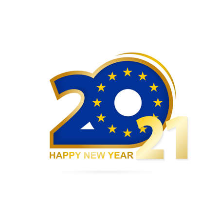Year 2021 with European Union Flag pattern. Happy New Year Design. Vector Illustration.
