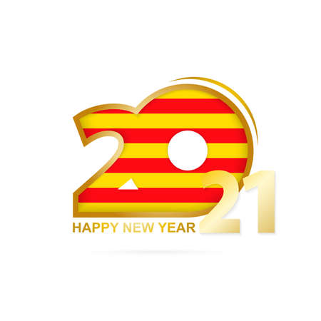 Year 2021 with Catalonia Flag pattern. Happy New Year Design. Vector Illustration.