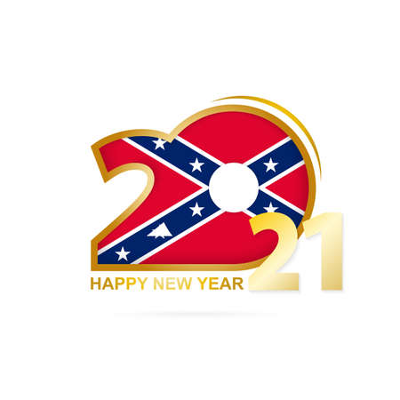 Year 2021 with Confederate Flag pattern. Happy New Year Design. Vector Illustration. Vector Illustration