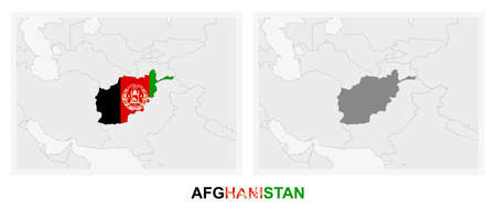 Two versions of the map of Afghanistan, with the flag of Afghanistan and highlighted in dark grey. Vector map.