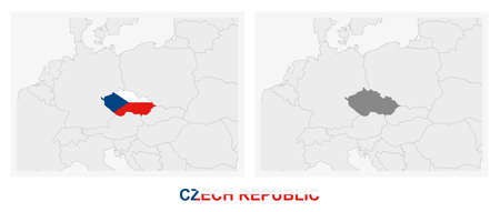 Two versions of the map of Czech Republic, with the flag of Czech Republic and highlighted in dark grey. Vector map.