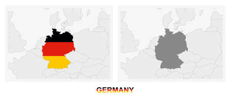 Two versions of the map of Germany, with the flag of Germany and highlighted in dark grey. Vector map