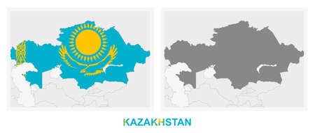 Two versions of the map of Kazakhstan, with the flag of Kazakhstan and highlighted in dark grey. Vector map.