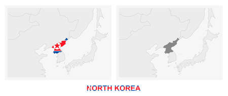 Two versions of the map of North Korea, with the flag of North Korea and highlighted in dark grey. Vector map.