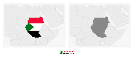 Two versions of the map of Sudan, with the flag of Sudan and highlighted in dark grey. Vector map.