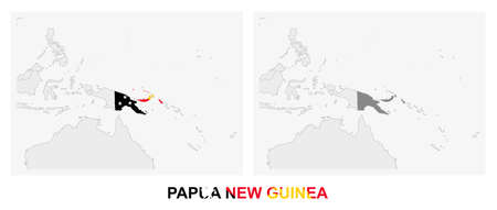 Two versions of the map of Papua New Guinea, with the flag of Papua New Guinea and highlighted in dark grey. Vector map.