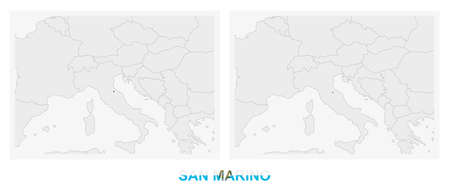Two versions of the map of San Marino, with the flag of San Marino and highlighted in dark grey. Vector map.