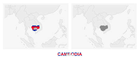 Two versions of the map of Cambodia, with the flag of Cambodia and highlighted in dark grey. Vector map.