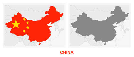 Two versions of the map of China, with the flag of China and highlighted in dark grey. Vector map.