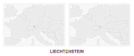 Two versions of the map of Liechtenstein, with the flag of Liechtenstein and highlighted in dark grey. Vector map.