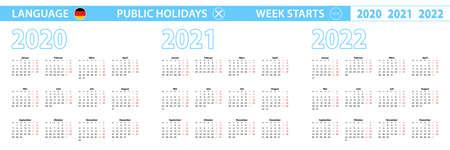 Simple calendar template in German for 2020, 2021, 2022 years. Week starts from Monday. Vector illustration. Illusztráció