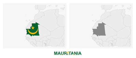 Two versions of the map of Mauritania, with the flag of Mauritania and highlighted in dark grey. Vector map.
