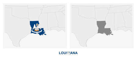Two versions of the map of US State Louisiana, with the flag of Louisiana and highlighted in dark grey. Vector map.  イラスト・ベクター素材