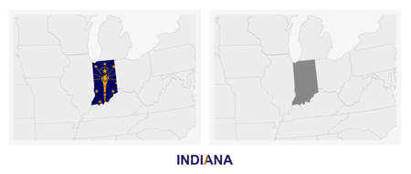 Two versions of the map of US State Indiana, with the flag of Indiana and highlighted in dark grey. Vector map.  イラスト・ベクター素材