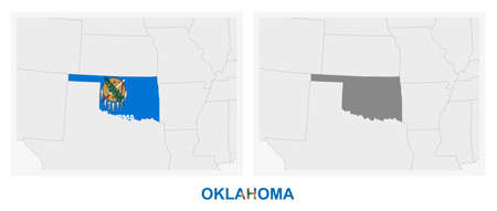 Two versions of the map of US State Oklahoma, with the flag of Oklahoma and highlighted in dark grey. Vector map.  イラスト・ベクター素材
