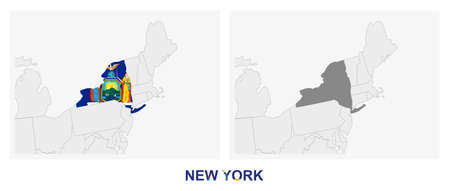 Two versions of the map of US State New York, with the flag of New York and highlighted in dark grey. Vector map.  イラスト・ベクター素材