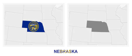 Two versions of the map of US State Nebraska, with the flag of Nebraska and highlighted in dark grey. Vector map.  イラスト・ベクター素材