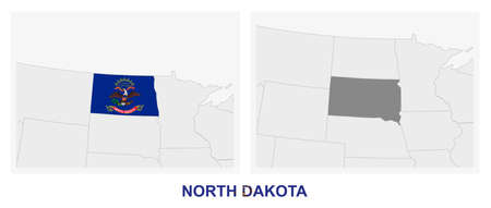 Two versions of the map of US State North Dakota, with the flag of North Dakota and highlighted in dark grey. Vector map.