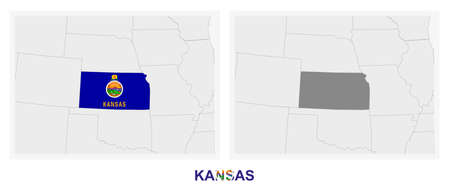 Two versions of the map of US State Kansas, with the flag of Kansas and highlighted in dark grey. Vector map.