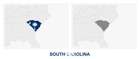 Two versions of the map of US State South Carolina, with the flag of South Carolina and highlighted in dark grey. Vector map.  イラスト・ベクター素材